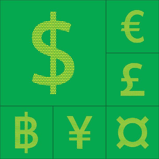 stockillustraties, clipart, cartoons en iconen met currency symbol dollar, euro, yen, pound, baht - thaise munt