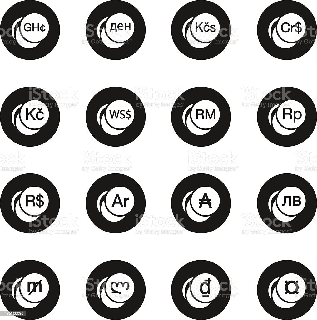 Currency Symbol Icons Set 2 Black Circle Series Stock Vector Art