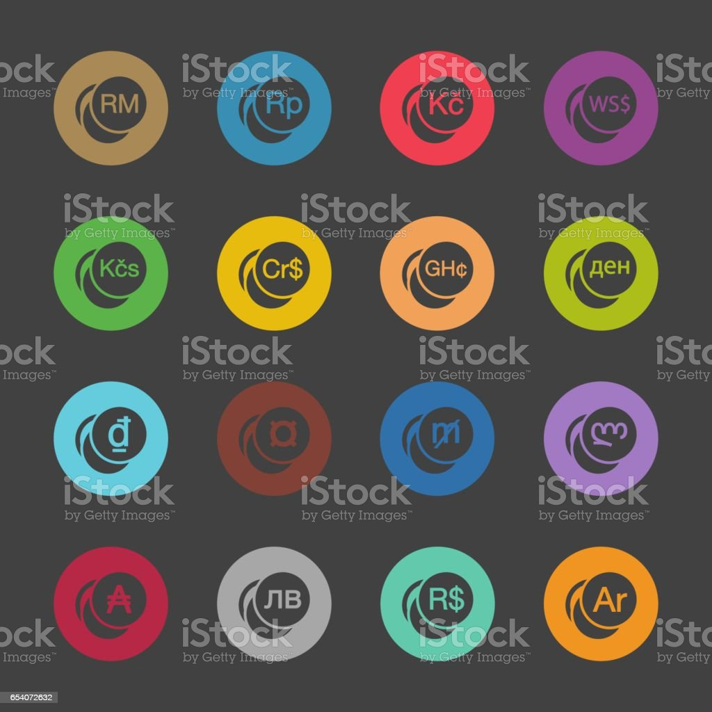 Currency Symbol Icons Set 2 Color Circle Series Stock Vector Art