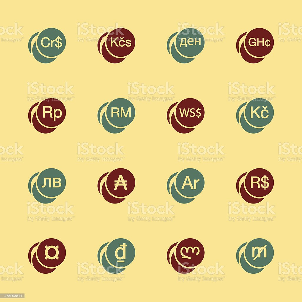 Currency Symbol Icons Set 2 Color Series Eps10 Stock Vector Art