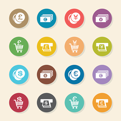 Currency Symbol Icons Set 3 - Color Circle Series