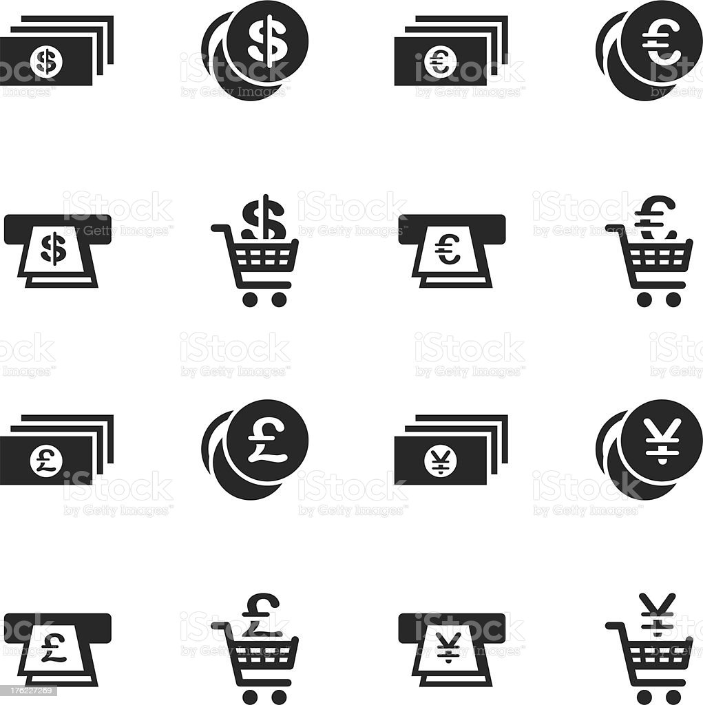 Currency Symbol Silhouette Icons | Set 3 vector art illustration