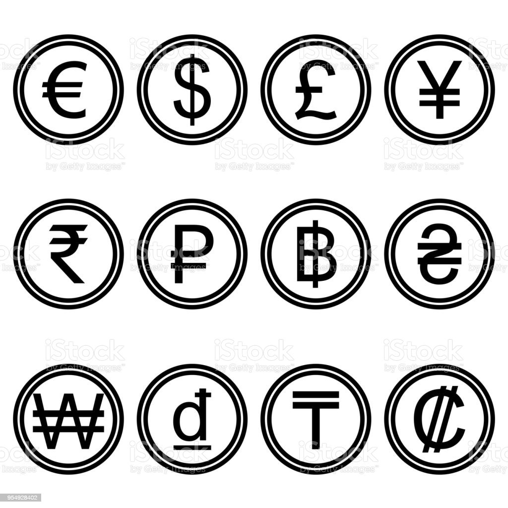 Currency Symbols Icons Simple Black And White Colored Set Stock
