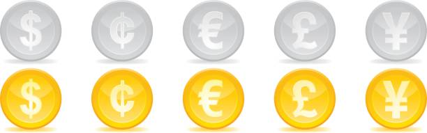 Currency symbols vector symbol or icons of different currencies. chinese yuan note stock illustrations