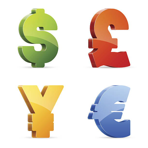 Currency symbols Vector set of glossy colorful currency symbols japanese currency stock illustrations