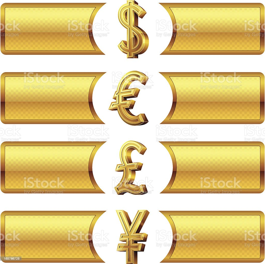 Currency symbols with banners vector art illustration