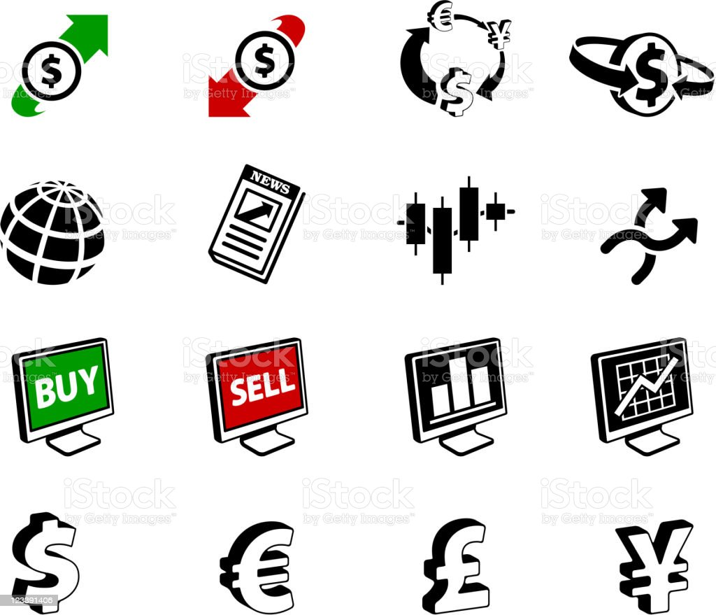 FX ( Foreign Exchange )currency trading black and white set vector art illustration