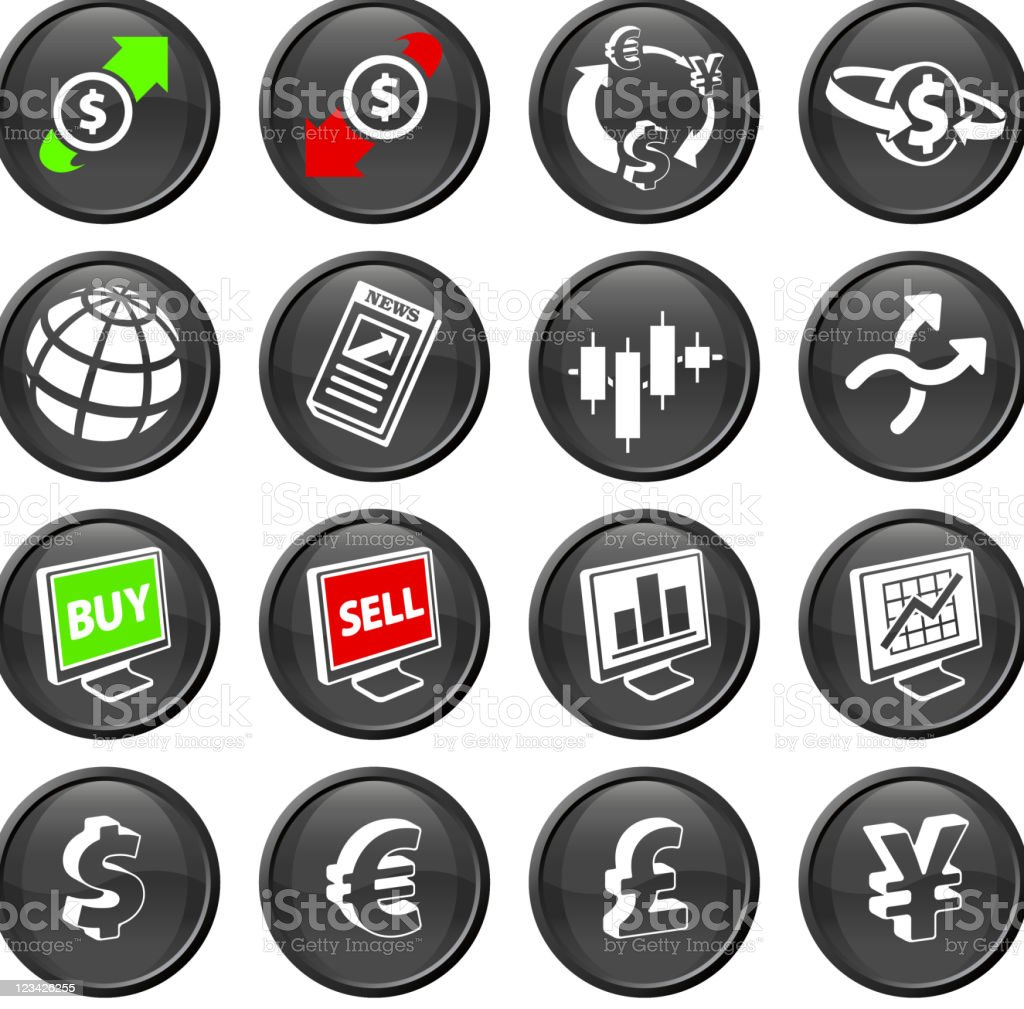 FX currency trading royalty free vector icon set royalty-free stock vector art