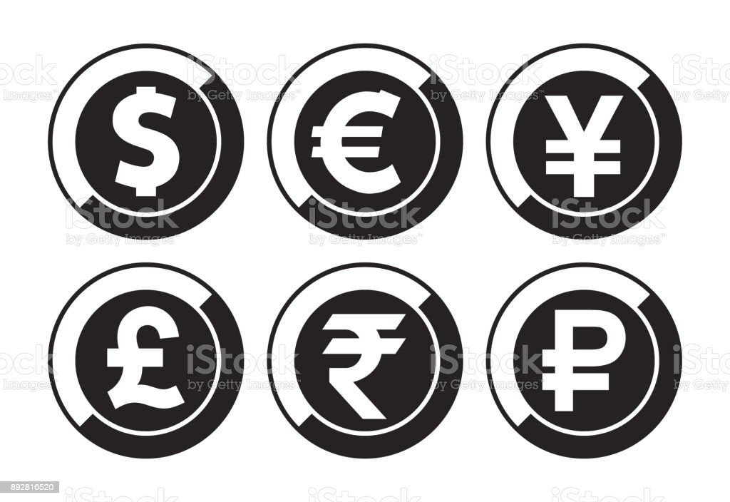 Currency vector icons vector art illustration