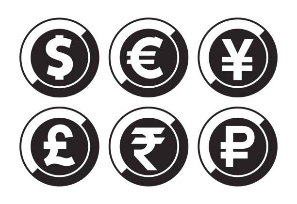 통화 벡터 아이콘 - 영국 화폐 단위 stock illustrations