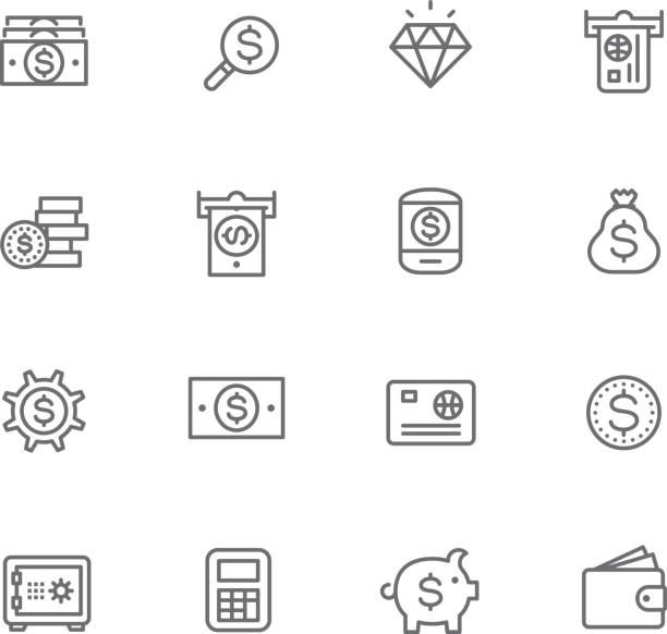 Currency Icon set finance and currency safety deposit box stock illustrations