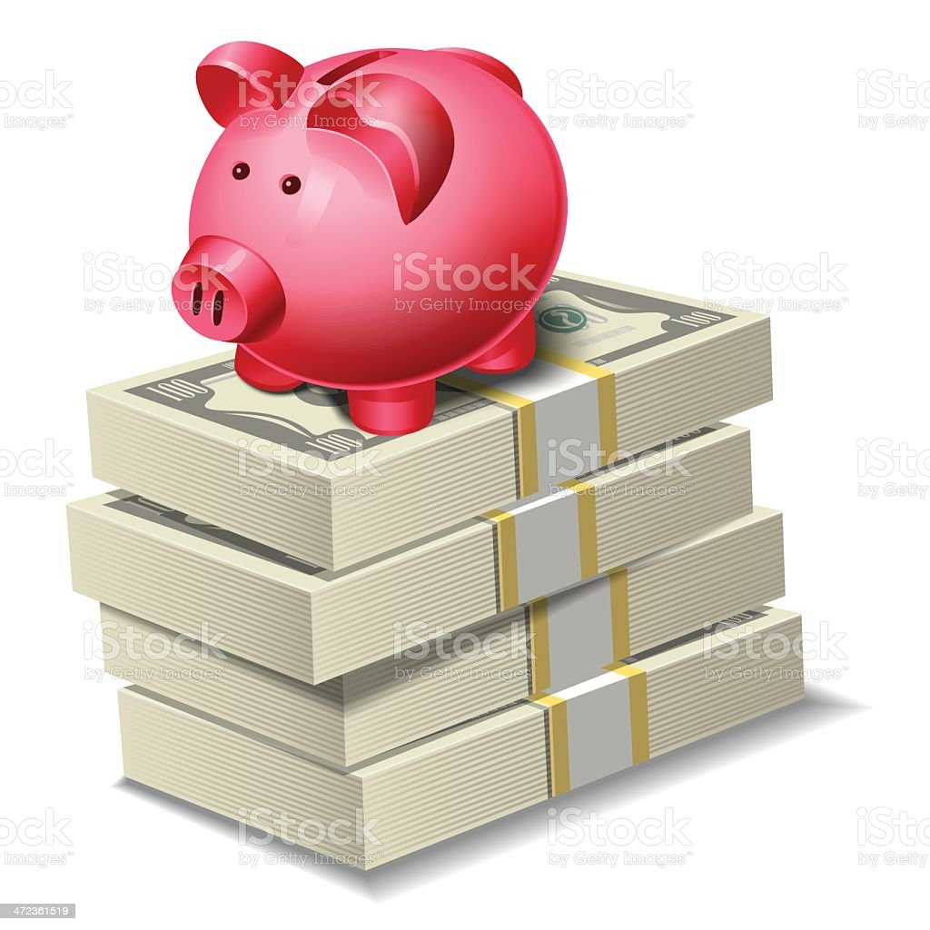Currency with Piggy Bank vector art illustration