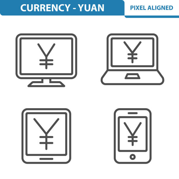 Currency - Yen / Yuan Icons Professional, pixel perfect icons, EPS 10 format. taiwanese currency stock illustrations