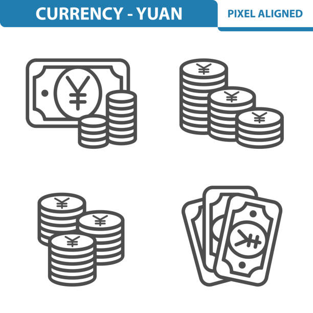 Currency - Yen / Yuan Icons Professional, pixel perfect icons, EPS 10 format. yuan symbol stock illustrations