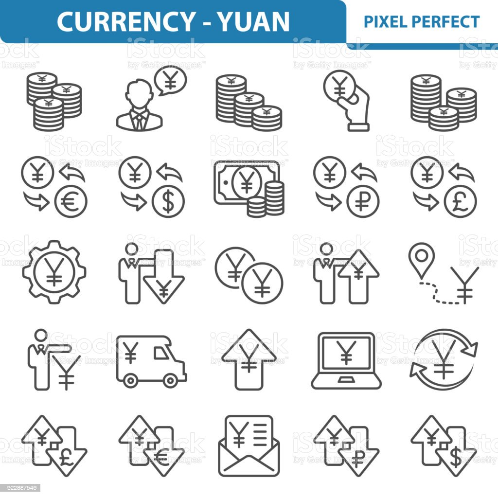 Currency - Yuan Icons vector art illustration