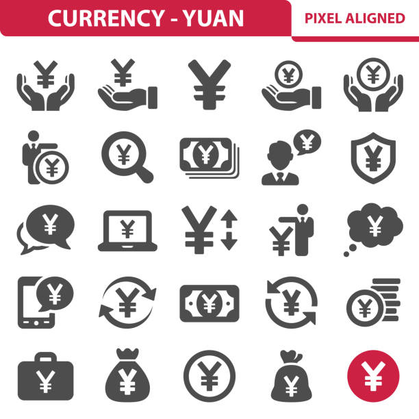 Currency - Yuan/Yen Icons Professional, pixel perfect icons, EPS 10 format. taiwanese currency stock illustrations
