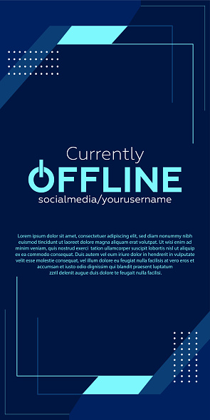 Currently offline twitch banner background vector template