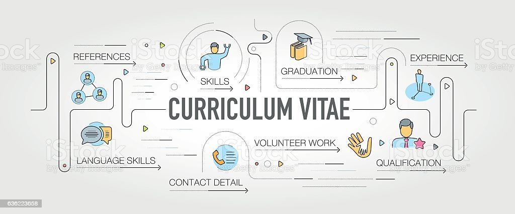 curriculum vitae banner and icons つながりのベクターアート素材や