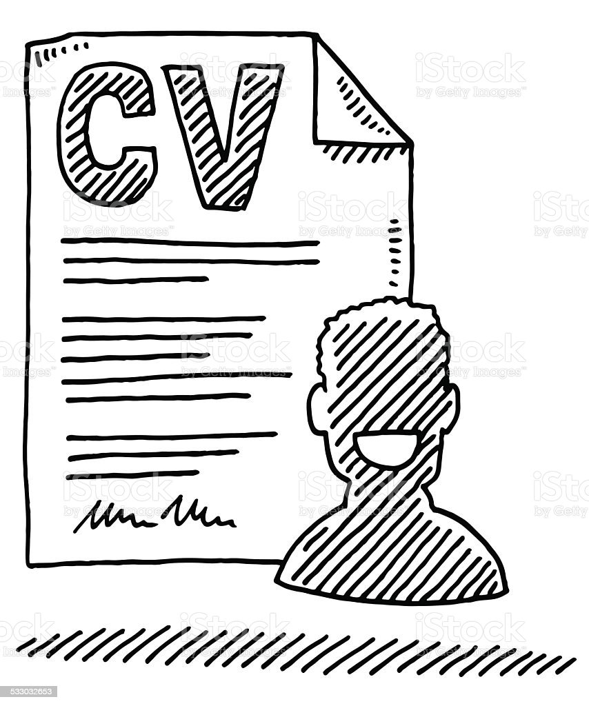 curriculum vitae form person symbol drawing stock vector