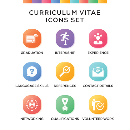 Curriculum Vitae Icons Set on Gradient Background