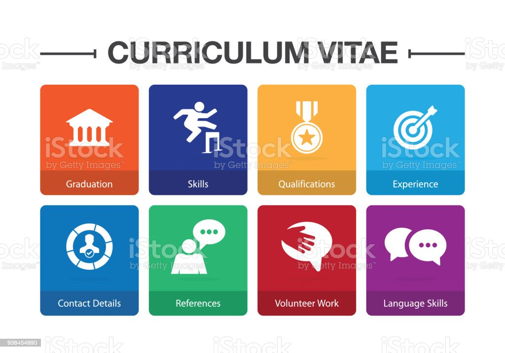 curriculum vitae infographic icon set royalty free curriculum vitae infographic icon set stock vector art