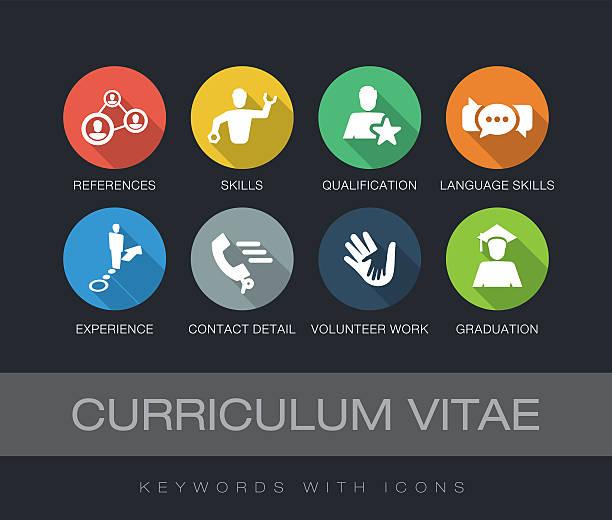 stockillustraties, clipart, cartoons en iconen met curriculum vitae keywords with icons - cv icon