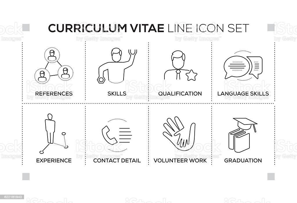 curriculum vitae keywords with monochrome line icons stock