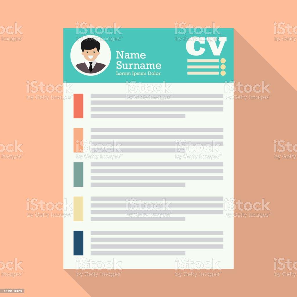 Ilustración de Curriculum Vitae U Hoja De Papel De Uso De Cv y más ...