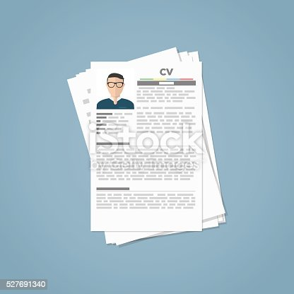 Curriculum vitae papers with personal info and picture.