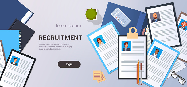 curriculum vitae recruitment candidate job position cv profile top angle view workplace desktop smartphone business people contact list resume copy space horizontal