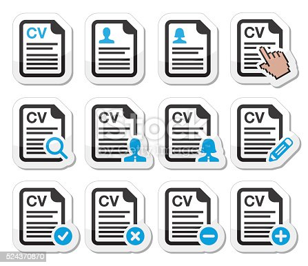 Employment, HR - human resources black and blue labels set isolated on white