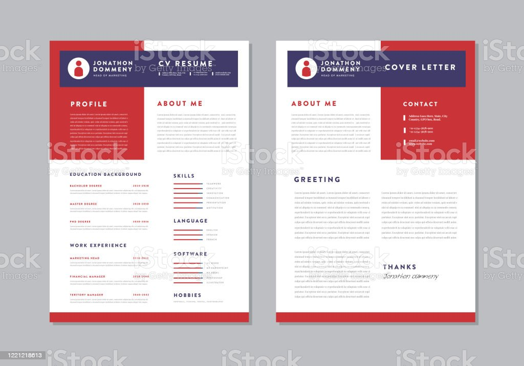 Curriculum Vitae Cv Resume Template Design Stock Illustration
