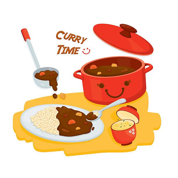 curry rice set - カレー点のイラスト素材/クリップアート素材/マンガ素材/アイコン素材