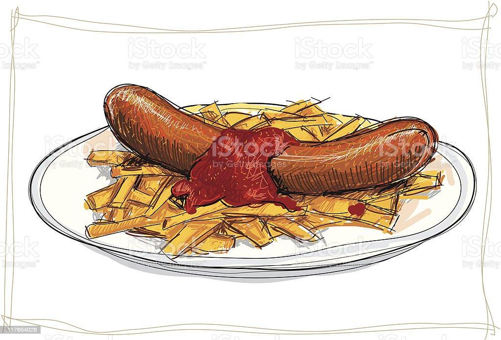 Ausmalbilder Wurst: Currywurst Vektorgrafiken Und Illustrationen