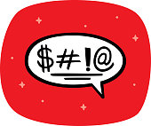 Vector illustration of a hand drawn curse word speech bubble against a red background.