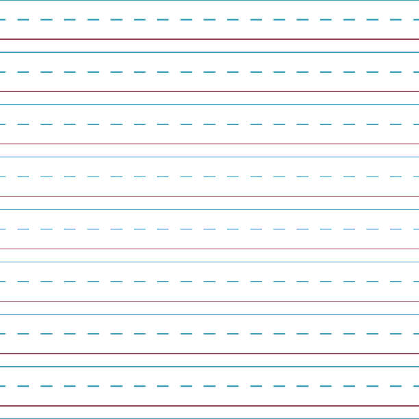 Cursive Handwriting Tablet Paper Seamless Pattern Blue and red lines and dashed lines of cursive handwriting tablet paper seamless pattern practicing stock illustrations