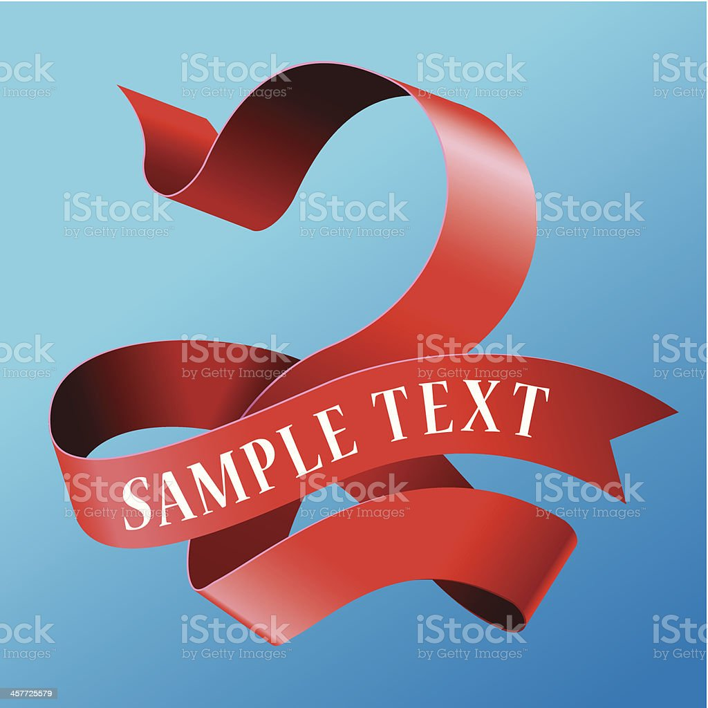 Cursive Ribbon Number 02 vector art illustration
