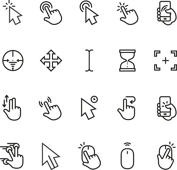 Cursor icon Cursor icons for any device. From desktop to multi-touch interfaces. himbeeren stock illustrations