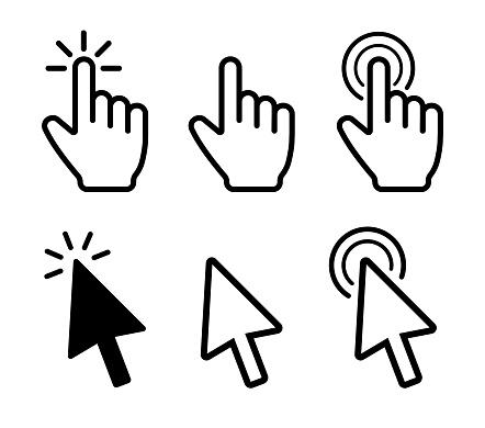 Cursor icons set. Mouse click. Vector clipart