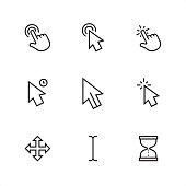 Cursor / 9 Outline style black and white icons / Set #17  First row of outline icons contains:  Double tap, Double click, Tap;  Second row contains:  Long click, Mouse pointer, Click;  Third row contains:  Drag (all-scroll), Type cursor, Wait hourglass cursor.  Pixel Perfect Principle - all the icons are designed in 64x64 px grid, outline stroke 2 px.  Complete Outline 3x3 PRO collection - https://www.istockphoto.com/collaboration/boards/hyo8kGplAEWxASfzDWET0Q