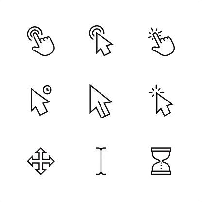 Cursor - Pixel Perfect outline icons clipart