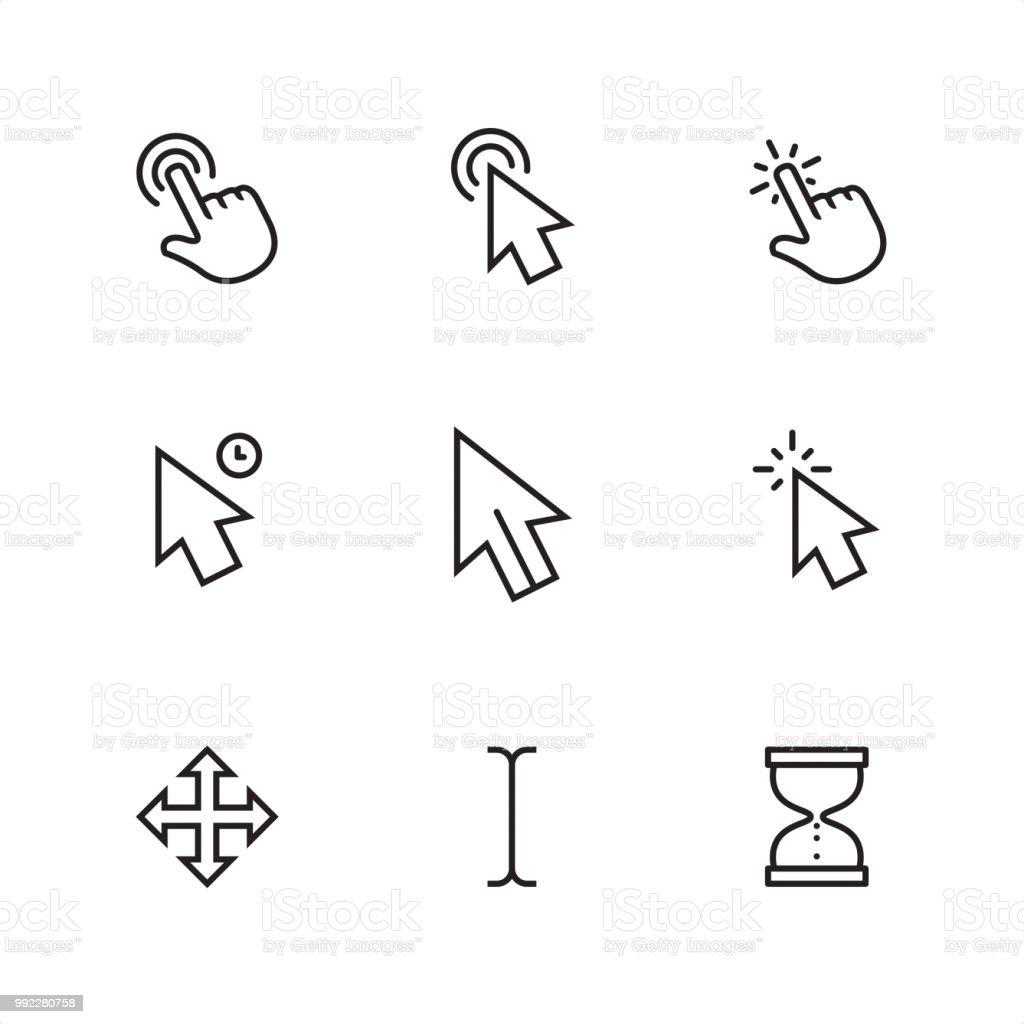 Cursor - Pixel Perfect outline icons vector art illustration