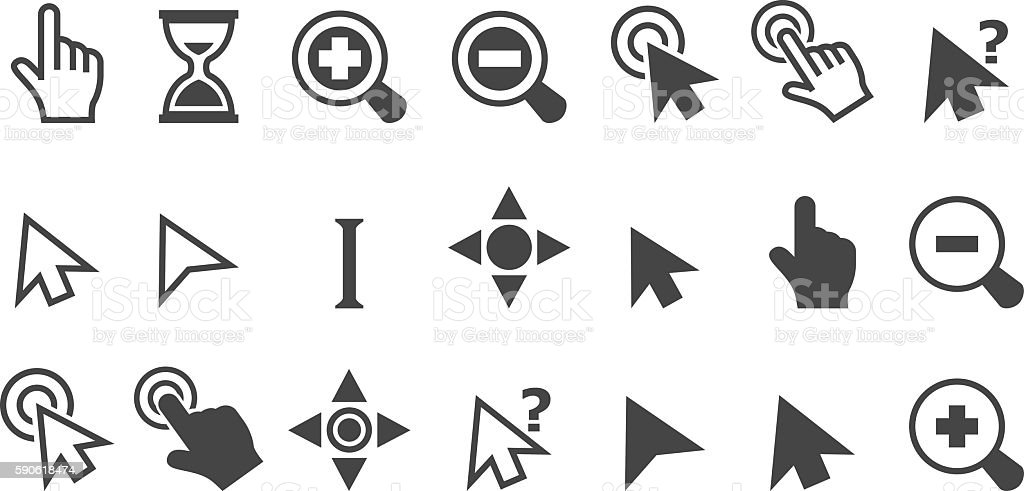 Cursor pointer icons vector art illustration