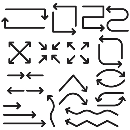Cursor sign. black arrows for web design. Arrow icon collection. Flat modern design. Stock image. EPS 10.