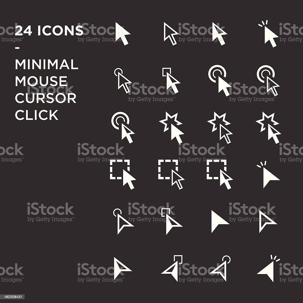 cursors icons: mouse hand arrow vector art illustration