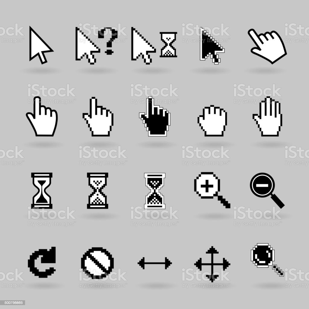 Cursors icons vector art illustration