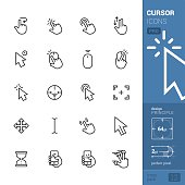 20 Cursors Linear style vector icons pack.