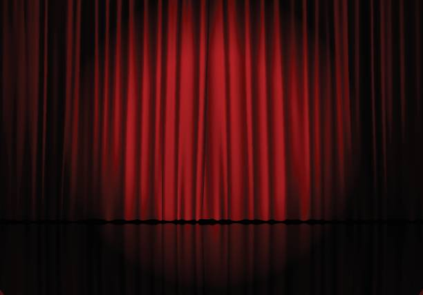 Curtain 20 Closed red curtain background and spotlight. Theatrical drapes. Vector illustration. curtain stock illustrations