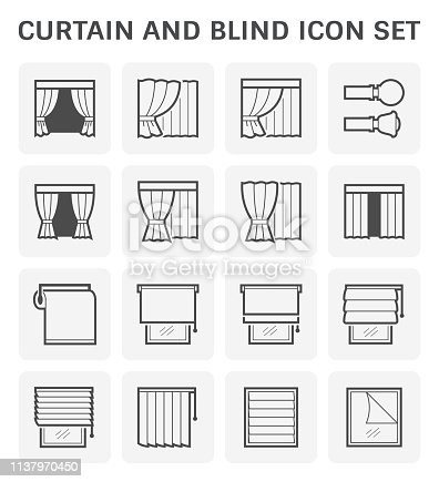 Curtain and blind icon set design.