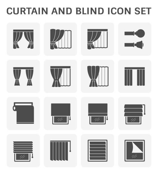 vorhang auf blindes symbol - stoffrollos stock-grafiken, -clipart, -cartoons und -symbole